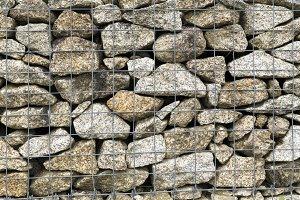 Steel mesh of gabion wall
