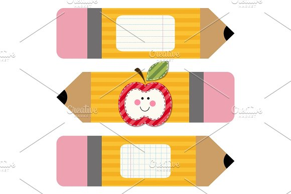 Cute school yellow pencils with pink rubber