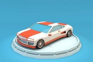 Cartoon Sport Car Low Poly