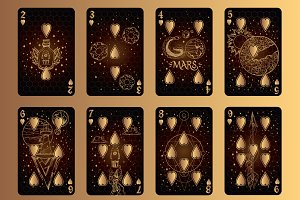 Playing cards. Golden Space.