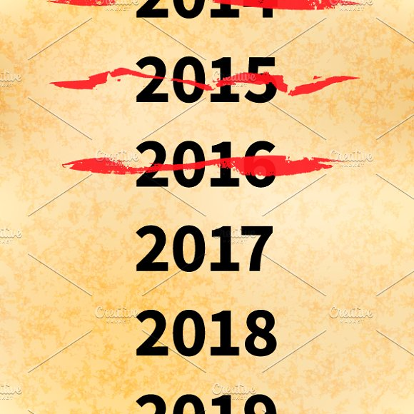 Crossed out years in 2017 calendar in Illustrations