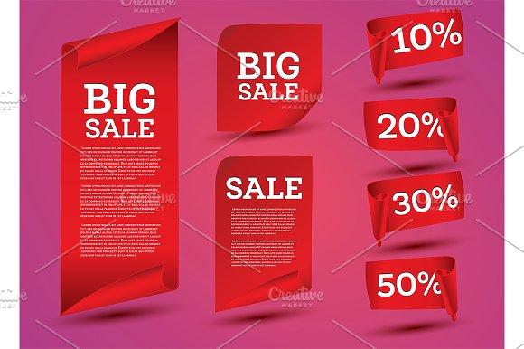 Big Sale Banner Set Ribbon