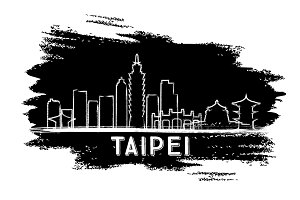 Taipei Skyline Silhouette.