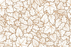 Hand drawn cute leaves pattern
