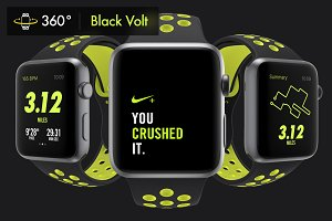 340 Apple Watch Nike Black Mockups
