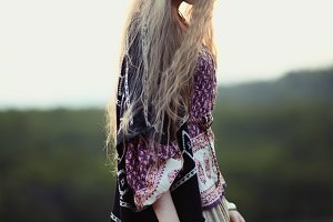 hippie girl on nature of evening