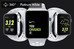 340 Apple Watch Nike White Mockups