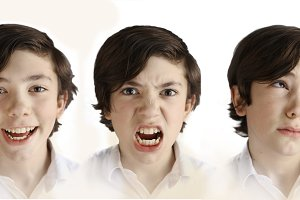 teen boy face with mimic different expressions