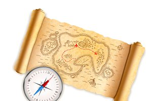 Ancient pirate map with compass
