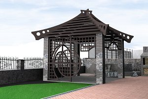 Gazebo design ideas, 3d illustration