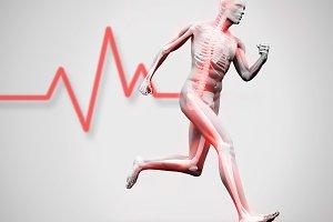 White and red digital skeleton running