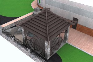 Gazebo design aerial, 3d render