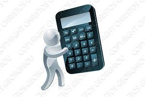 Silver mascot holding a calculator