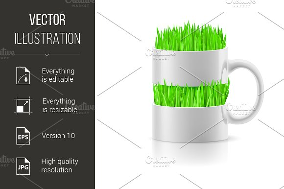 White Mug With Insertion Of Grass