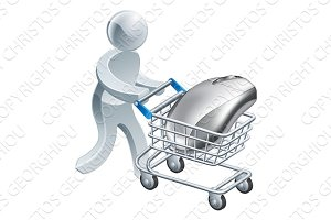 Man pushing computer mouse in trolley