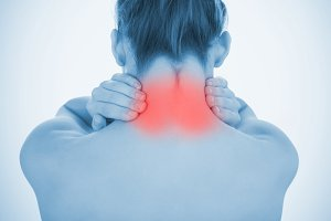 Woman with highlighted neck pain