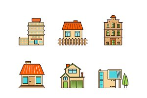 Buildings lineart iconset