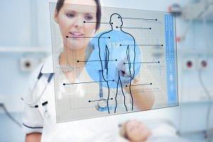 Nurse touching screen displaying blue human form