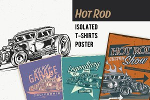 Hot Rod T-shirts And Poster Labels