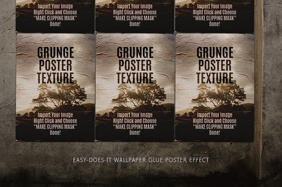 Download Poster Effect Glued on Wall