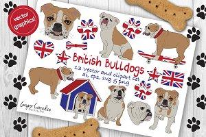 British Bulldog vector clipart set