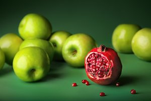 pomegranate with green apples