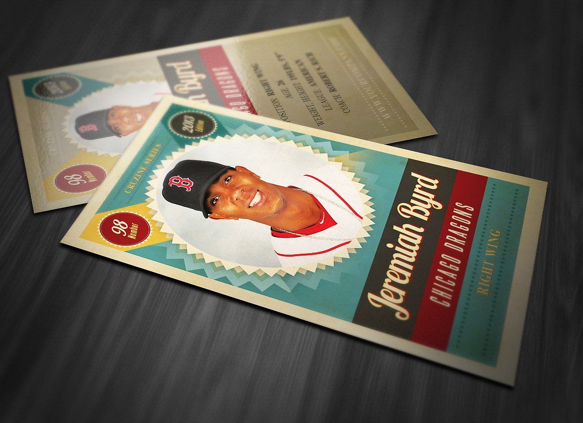 Retro Trading Card Template 3 Card Templates Creative Market
