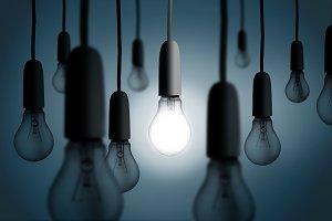 One light bulb lit up