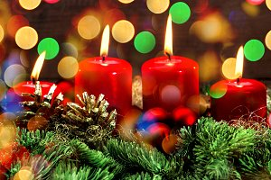 Burning Candles. Advent Decoration