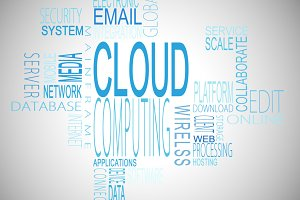 Cloud computing terms in blue