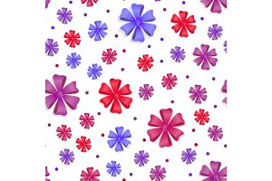 Flower Bows Seamless Pattern. Cute Bright Bowknots