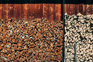 Pile of natural wood logs