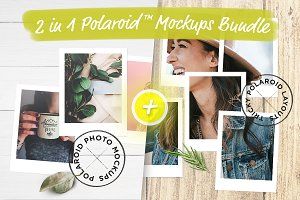 2 in 1 Polaroid™ Mockups Bundle
