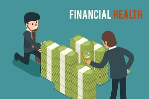 Money health isometric illustration