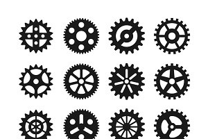 Gear wheels vector icons set