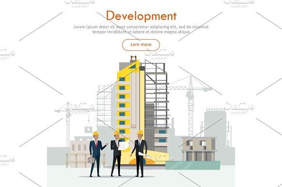 Development Building Process Three Businessmen