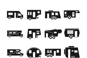 RV cars, campers vector icons