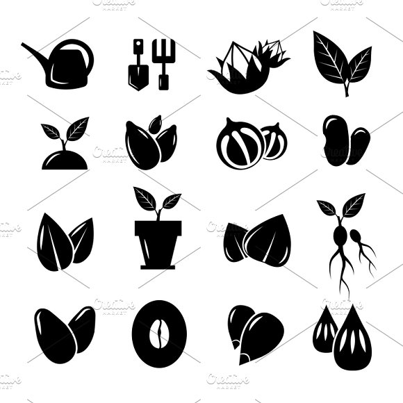 Seed and gardening vector icons