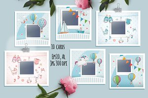 Set of 10 baby cards