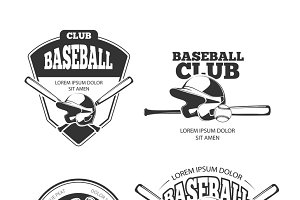 Baseball vector vintage logos set