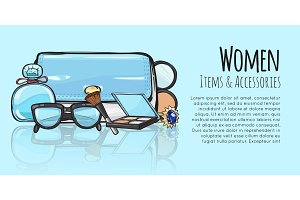 Women Items and Accessories. Blue Female Objects