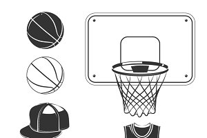 Elements for basketball club labels