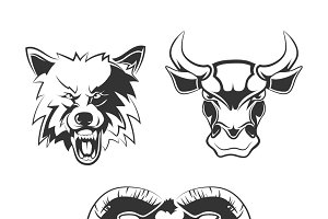 Labels with wolf, bull and ram