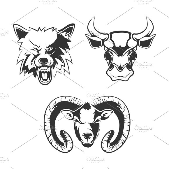 Labels With Wolf Bull And Ram