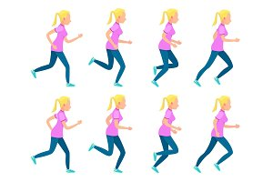Set of Running Girl. Variety of Sport Movements