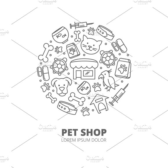 Pet Shop Vector With Linear Icons