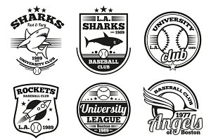 College athletic vector labels set