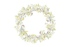Watercolor Wreath with Oak Acorn