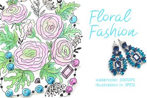 SALE! FLORAL FASHION watercolor