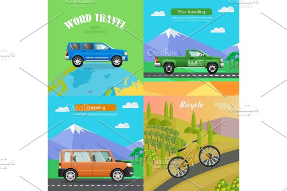 Transport Collection Of Four Auto Illustrations
